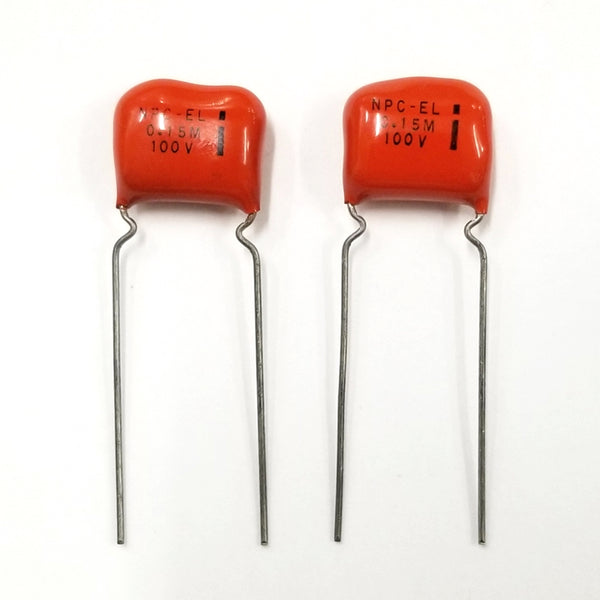 Lot of 2 NPC-EL, 0.15uF 100V Orange Drop Film Capacitors ~ EL Menco Cap