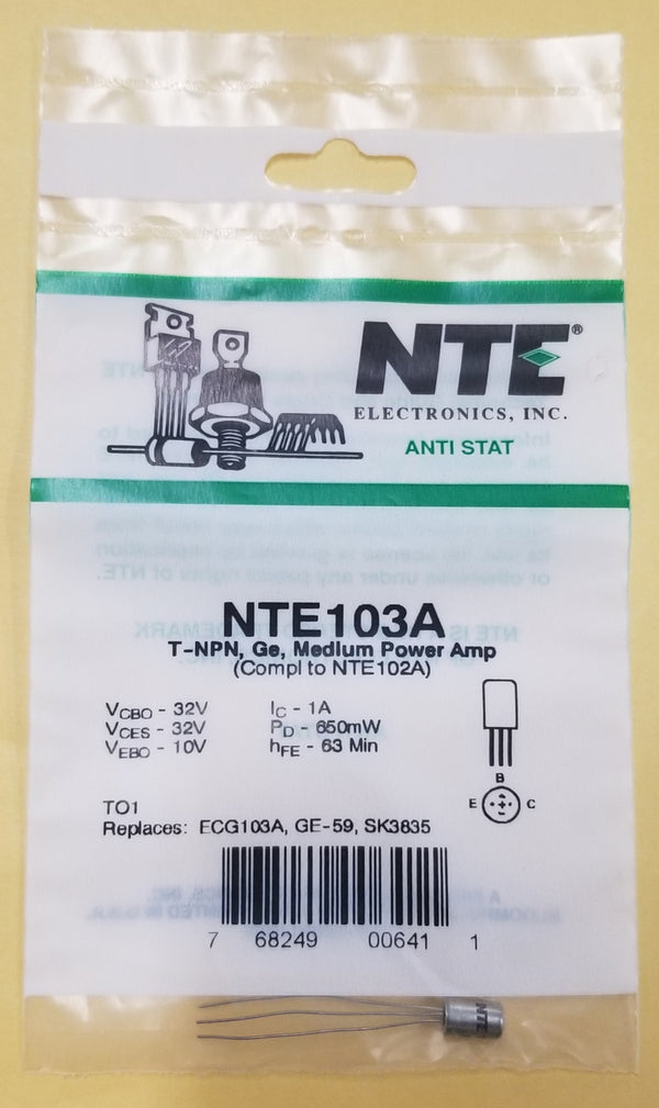 NEW NTE103A NPN Germanium Transistor Audio, Medium Power Amp