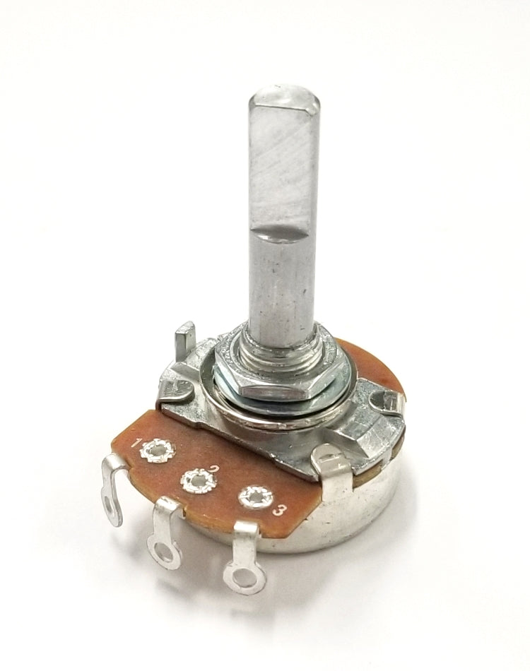 "Philmore PC27 500K Ohm Linear Taper Solder Lug Terminal Potentiometer, 24mm Body with 1/4"" D Shaft"