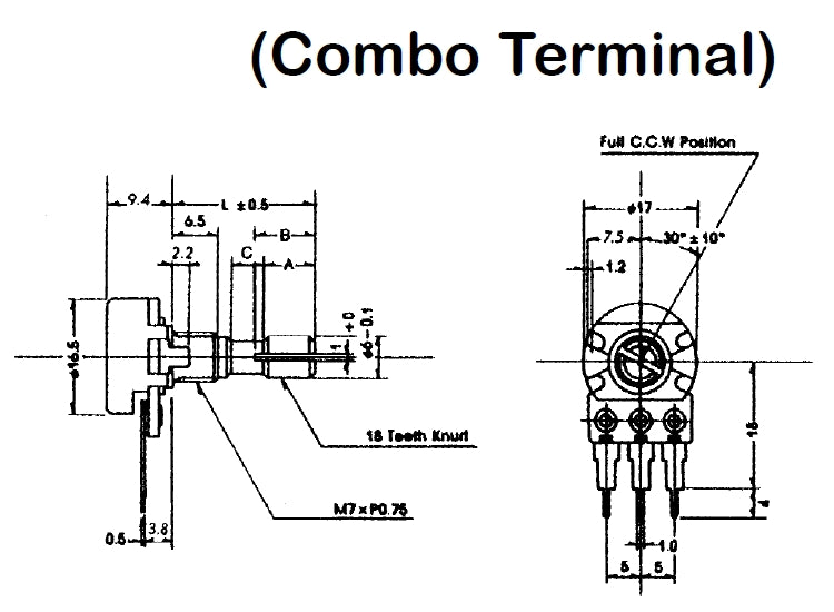 "Philmore PC83 5K Ohm Audio Taper Combo Terminal Potentiometer, 16mm Body with 1/4"" D Shaft"