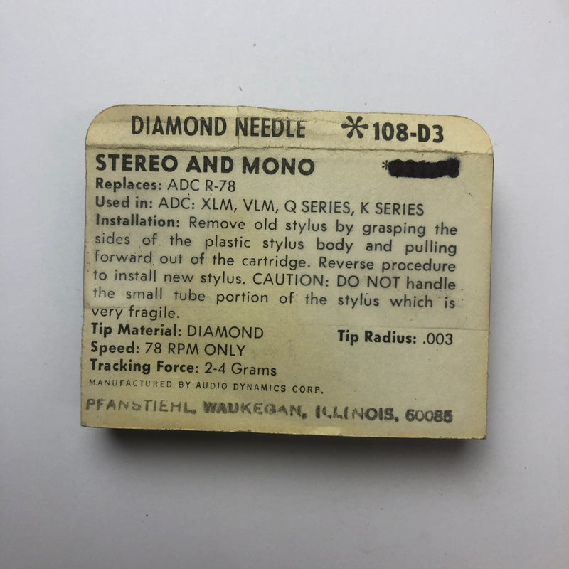 Pfanstiehl 108-D3 Diamond Needle for 78 RPM Only