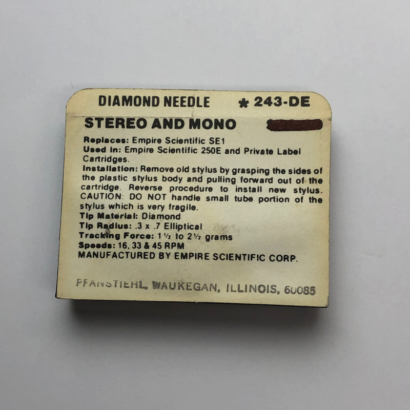 Pfanstiehl 243-DE Diamond Elliptical Needle for Audio Empire*