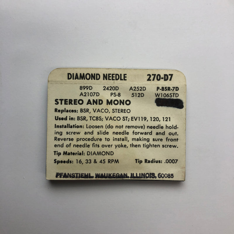 Pfanstiehl 270-D7 DISC. Diamond Needle