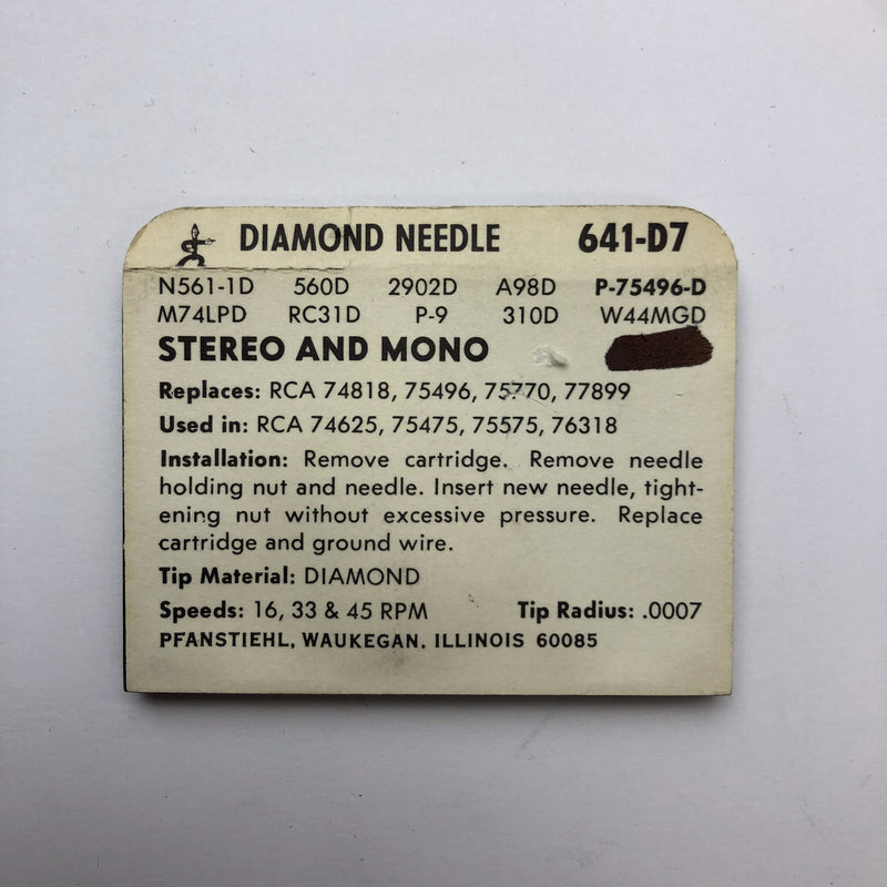 Pfanstiehl 641-D7 Diamond Needle