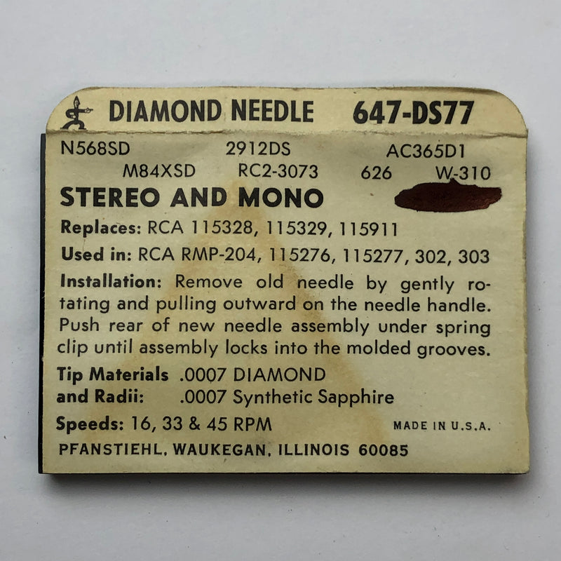 Pfanstiehl 647-DS77 Diamond Needle