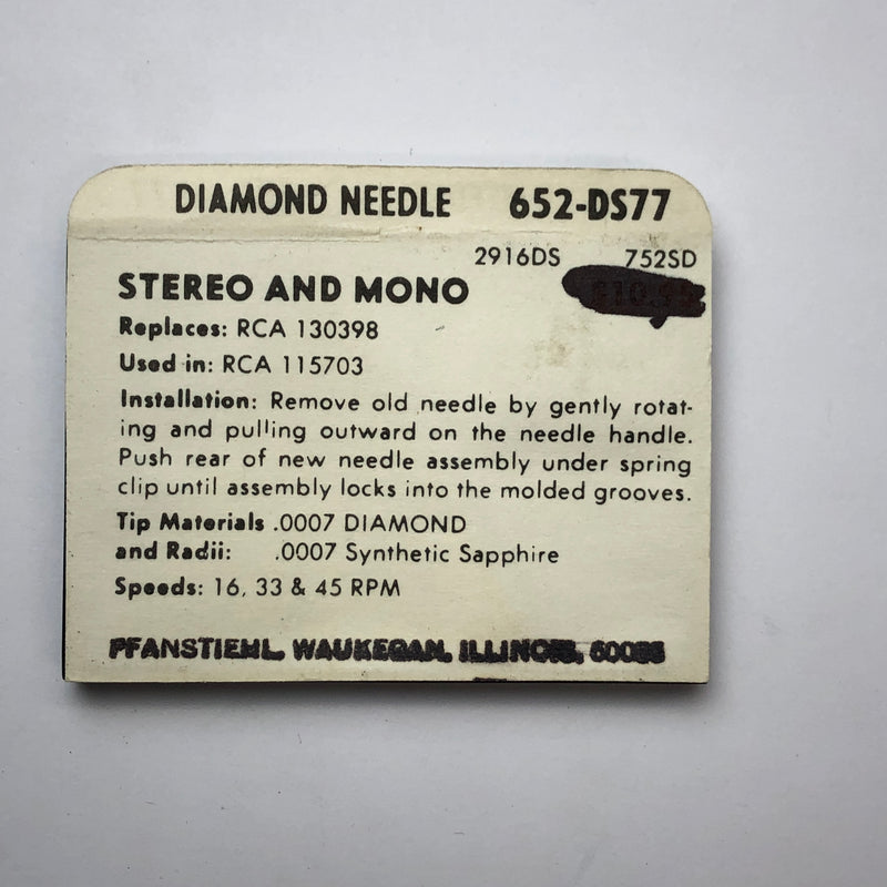 Pfanstiehl 652-DS77 Diamond Needle