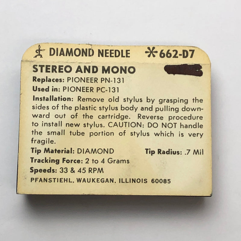 Pfanstiehl 662-D7 Diamond Needle