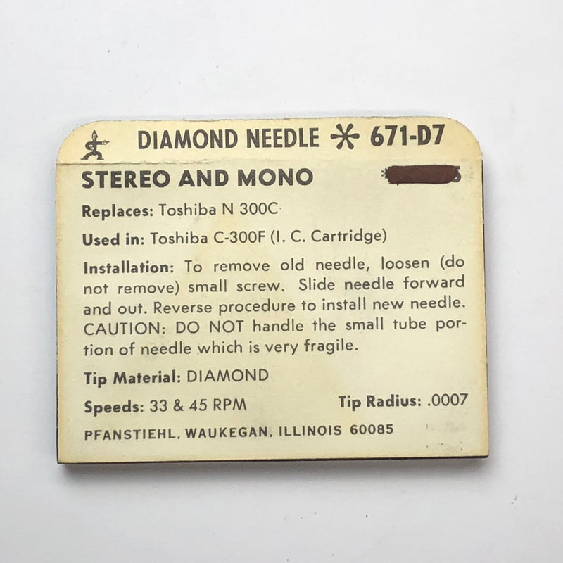 Pfanstiehl 671-D7 Diamond Needle