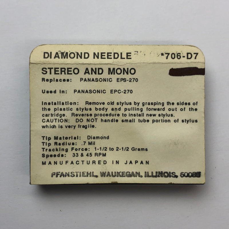 Pfanstiehl 706-D7 Diamond Needle