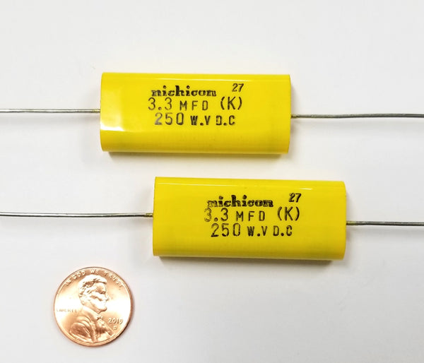 Lot of 2 NEW Nichicon 3.3uF 250V DC Metallized Polyester Film Capacitors 2E335K