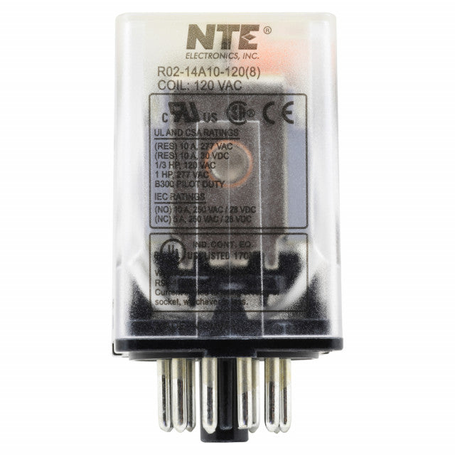 NTE R02-14A10-120 3PDT, 120 Volt AC Coil 10 Amp General Purpose Octal Relay 10A