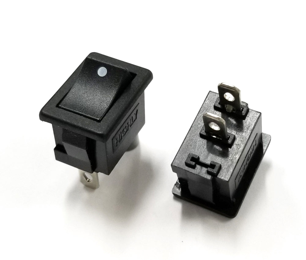 Lot of 2 SPST ON-OFF Miniature Rocker Switch 10A @ 125V AC, 19mm x 13mm