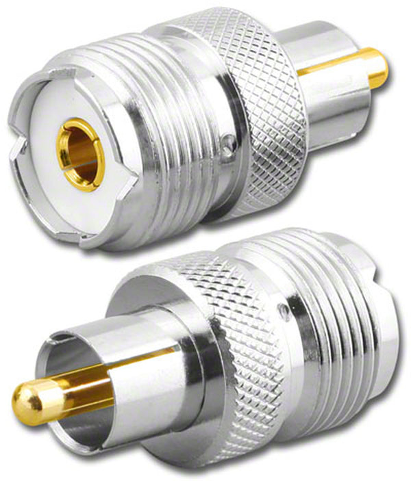 NEW Female UHF Jack SO239 to Male RCA Plug Adapter with Gold Pin RFA-8192