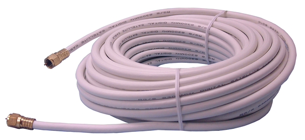 Philmore RG6100W Direct Burial Grade Type F TV Coax Cable, WHITE 100 Foot Length