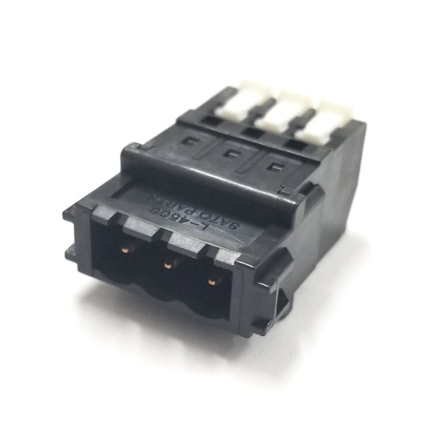 Sato Parts # SL-4500-AJ-3PB, 3 Male Pin Screwless, Latching Terminal Jack
