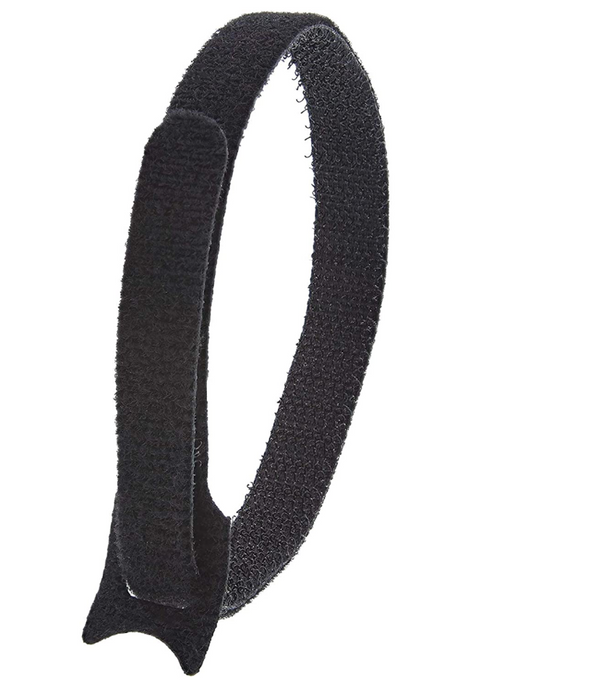 12in Length x 1/2in Width, Black Rappers Hook and Loop Ties 10pk 14-02000