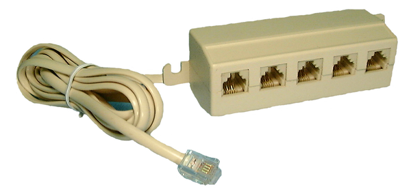 Philmore TEC39 4 Conductor RJ11 (6P4C) 1 In to 5 Out, 5 Way Modular Outlet Box