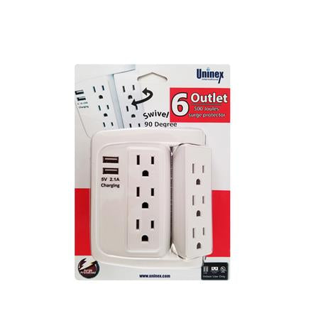 PS106 6 Outlet AC Surge Protector with 2 USB Charging Ports