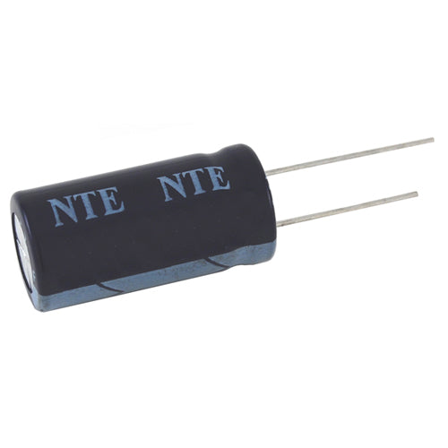 NTE VHT1000M25 1000uF, 25V, 105C High Temperature Aluminum Electrolytic Capacitor, Radial Lead
