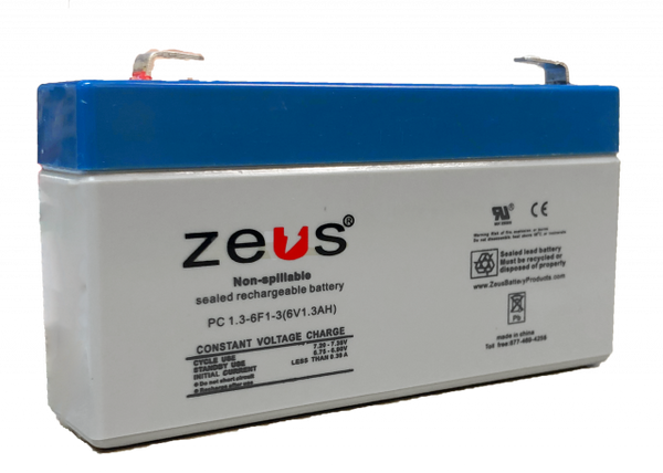 6V 1.3AH SLA  Sealed Lead Acid Battery F1 Terminals PC1.3-6F! Zeus