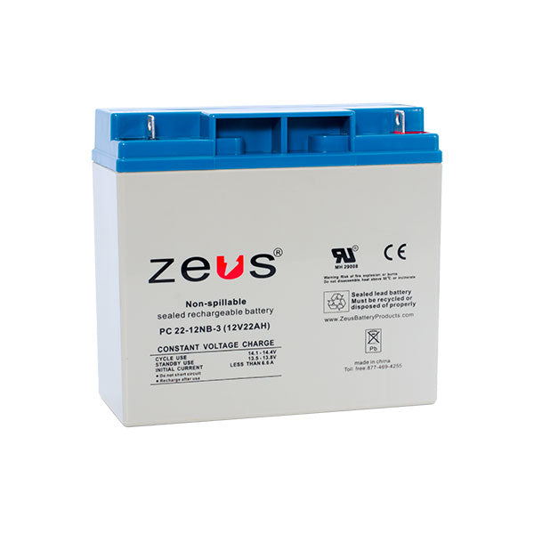 PC22-12NB   12V 22AH SLA nut Bolt Battery  Zeus