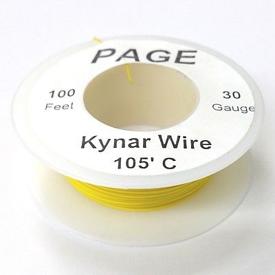 100' Page 30AWG YELLOW KYNAR Insulated Wire Wrap Wire 100 Foot Roll  Made In USA - MarVac Electronics