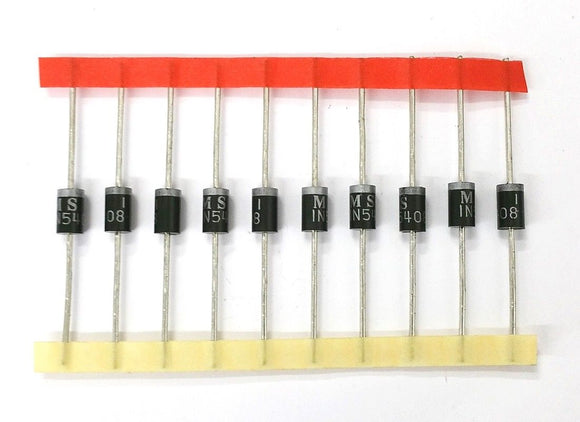 Lot of 10 Microsemi Corp 1N5408 3 Amp 1,000 Volt Rectifier Diodes 3A 1000V