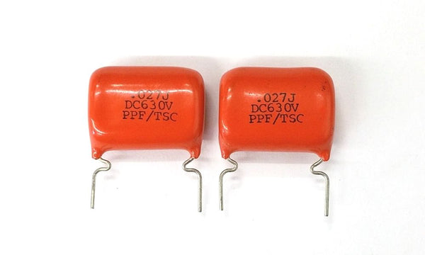 Lot of 2 0.027uF 630V Polypropylene Film Capacitors 5% - .027uF 27000nF - MarVac Electronics
