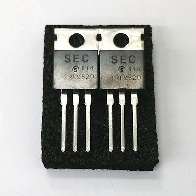Lot of 2 SEC Samsung IRF9520 6.0 Amp 6A 100 Volt P Channel Power Mosfets - MarVac Electronics
