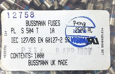 Lot of 10 Bussmann Buss T1AL250V 1A @ 250V Time Delay Slow Blow Fuses - MarVac Electronics