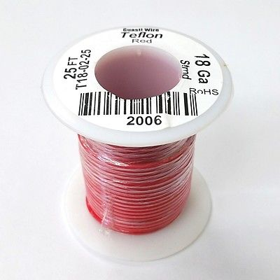 25' 18AWG RED Hi Temp PTFE Insulated Silver Plated 600 Volt Hook-Up Wire - MarVac Electronics