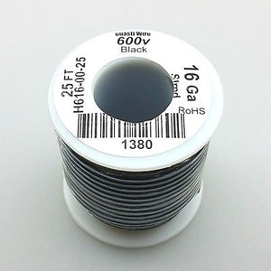 25' Roll 16AWG BLACK Stranded Appliance Grade 600 Volt Hook-Up Wire, UL1015 105C - MarVac Electronics