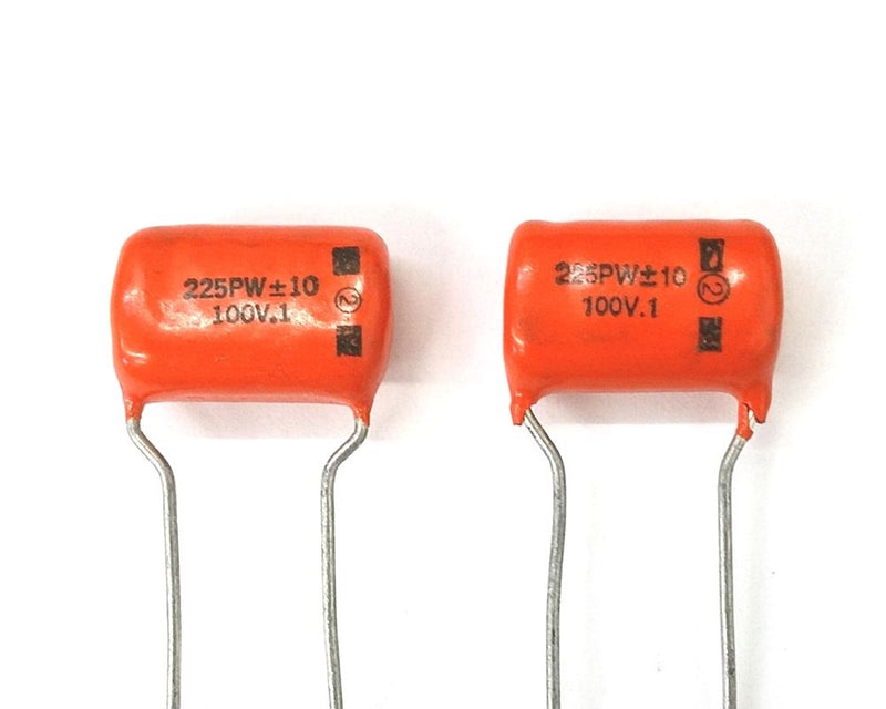 Lot of 2 0.1uF 100V Orange Drop Film Capacitor ~ Cornell Dubilier 225P Cap - MarVac Electronics