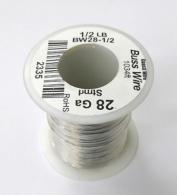 28 Gauge Tinned Copper Bus Wire, 1/2 Pound Roll (1,034' Approx. Lgth) 28AWG - MarVac Electronics