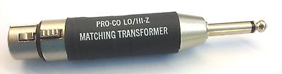 Pro-Co CC-9144PC LO/HI-Z Matching Transformer XLR Female to 1/4