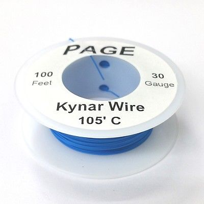 100' Page 30AWG BLUE KYNAR Insulated Wire Wrap Wire 100 Foot Roll ~ Made In USA - MarVac Electronics