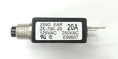 20 Amp Pushbutton Circuit Breaker  ~ Zing Ear ZE-700-20 20A - MarVac Electronics