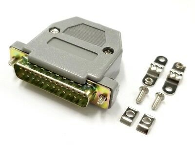 DB 25 Pin Male D-Sub Cable Mount Connector w/ Plastic Cover & Hardware DB25