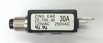 30 Amp Pushbutton Circuit Breaker ~ Zing Ear ZE-700-30 30A - MarVac Electronics