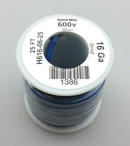 25' Roll 16AWG BLUE Stranded Appliance Grade 600 Volt Hook-Up Wire, UL1015 105C - MarVac Electronics
