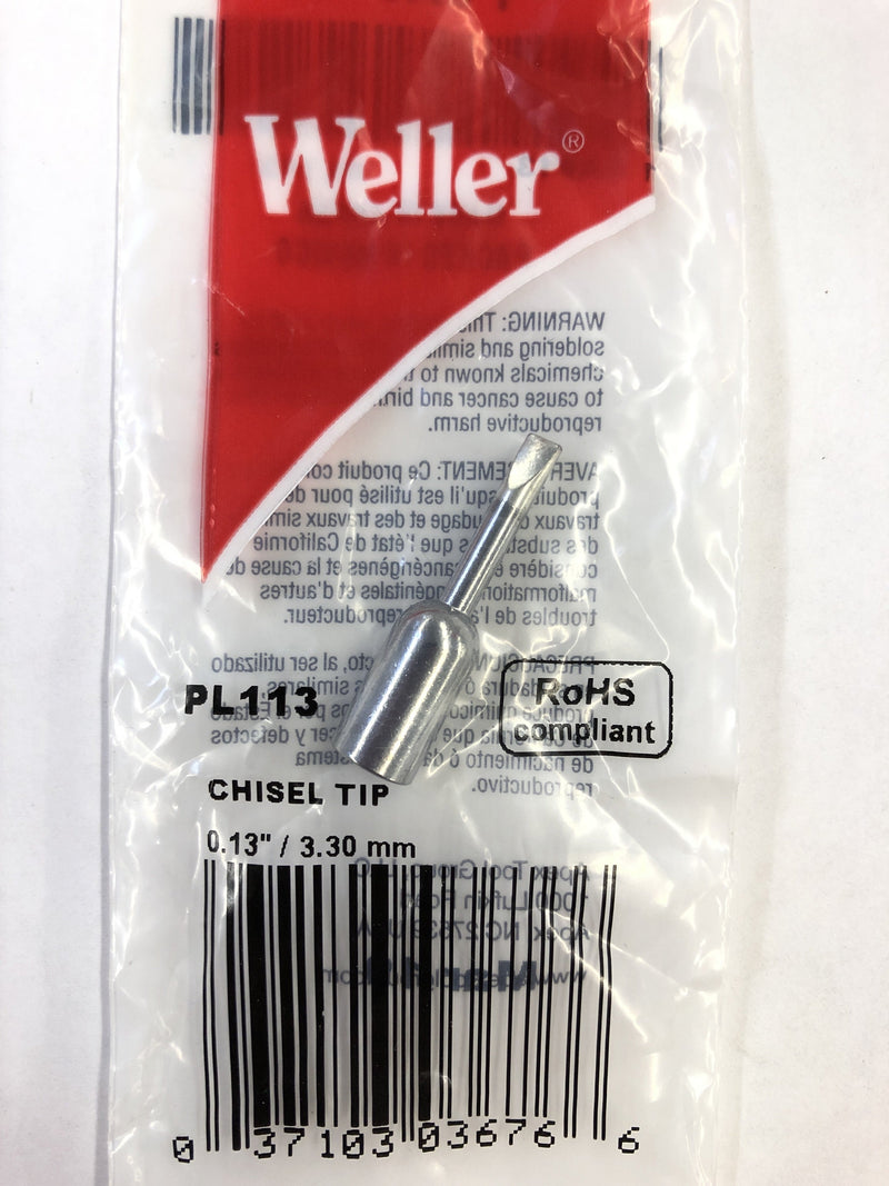 "Weller PL113 (1/8"") 0.13"" x 3.30 mm Thread-on Tip for Standard & DI Line Heaters"