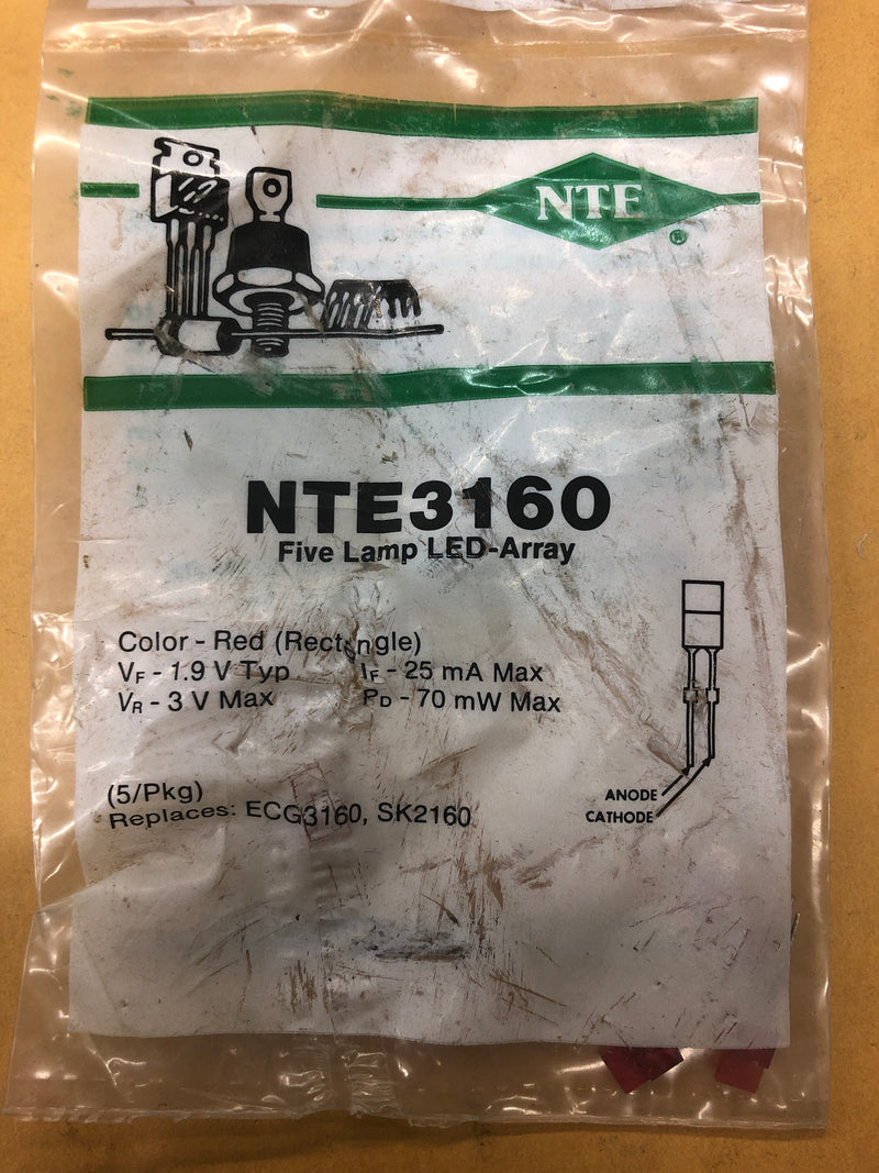 NTE3160 LED RECTANGULAR IND RED