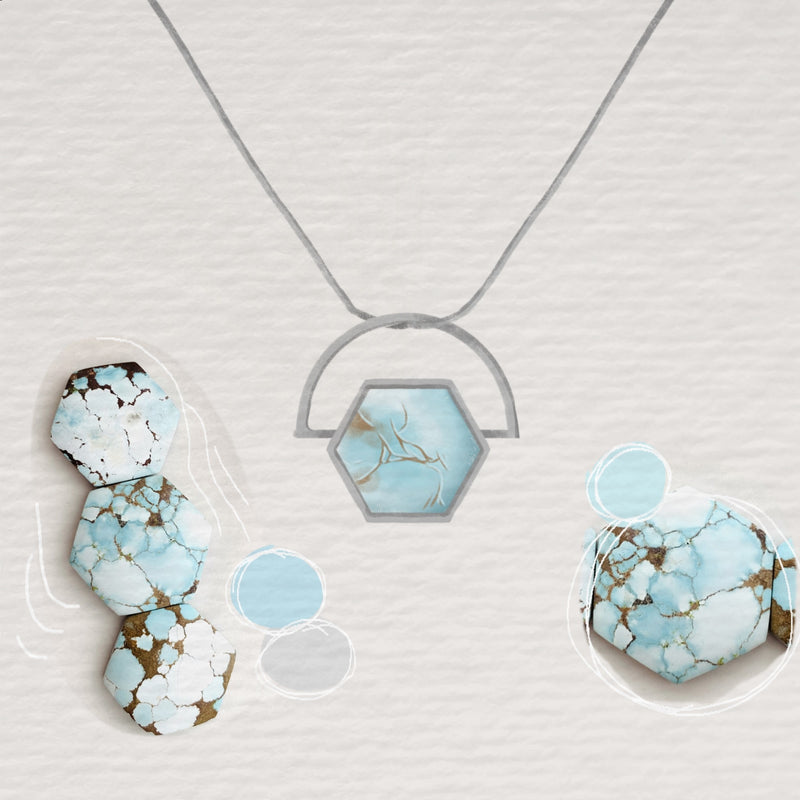 Hexagon Shaped Turquoise