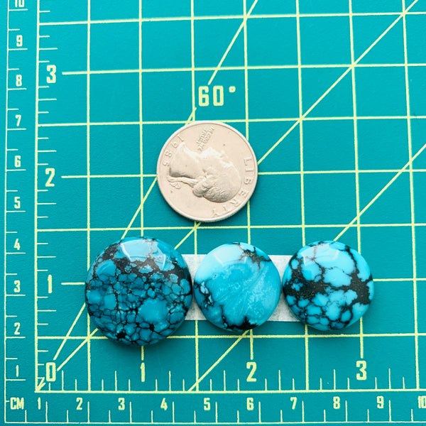 Large Sky Blue Round Yungai Turquoise, Set of 3 Dimensions