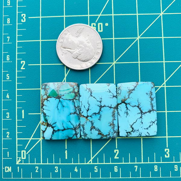 Large Sky Blue Bar Yungai Turquoise, Set of 3 Dimensions