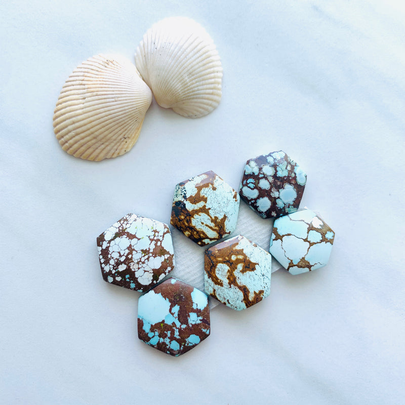 Medium Faint Blue Mix Turquoise, Set of 6