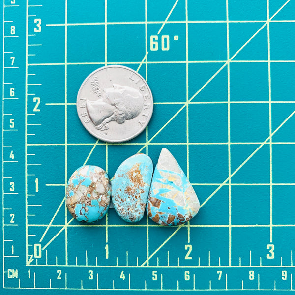 Medium Sky Blue Mixed Royston Turquoise, Set of 3 Dimensions
