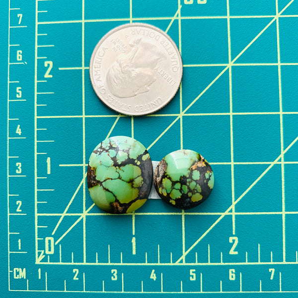 Medium Deep Green Mixed Bamboo Mountain Turquoise, Set of 2 Dimensions