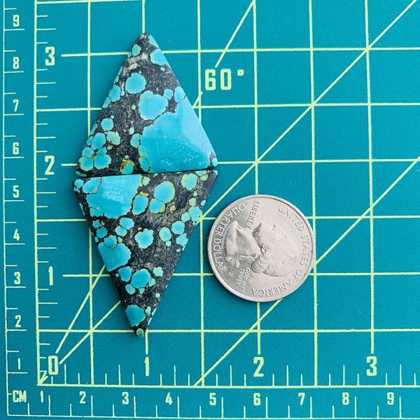 Large Sky Blue Triangle Yungai, Set of 2 Dimensions