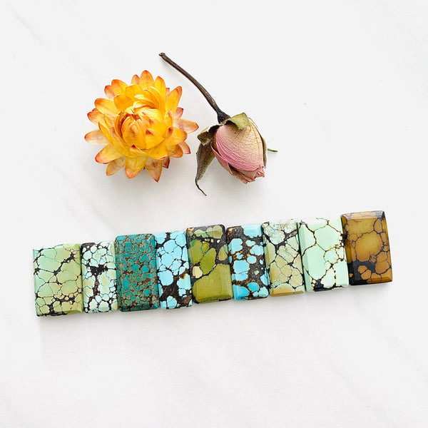 Medium Mixed Bar Mixed Turquoise, Set of 9 Background